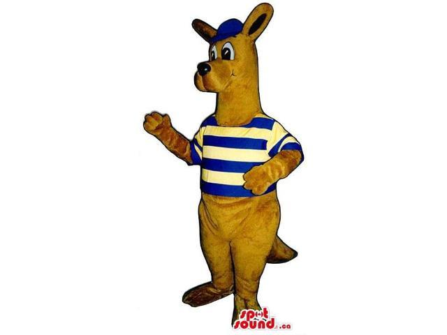 Brown Kangaroo Plush Canadian SpotSound Mascot Dressed In A Striped Shirt And A Cap