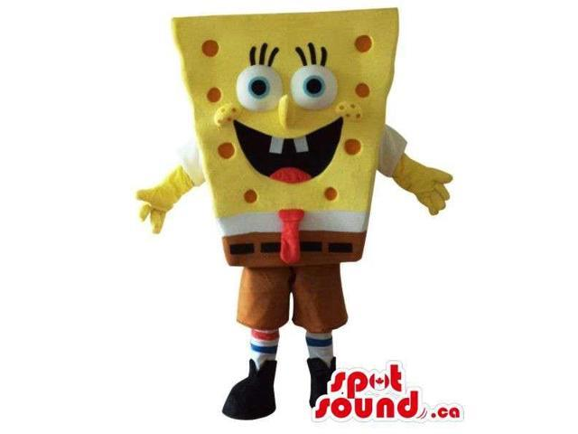 Sponge Bob Square Pants Cartoon Character Canadian SpotSound Mascot With Red Dots