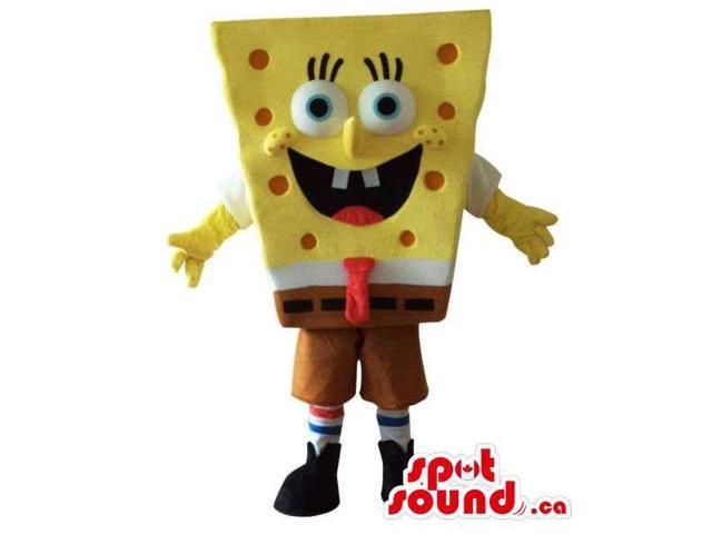 Sponge Bob Square Pants Cartoon Character Canadian SpotSound Mascot With Red Dots