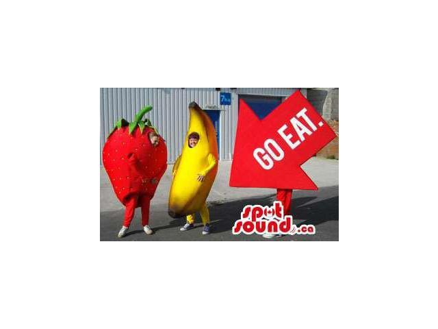 Strawberry, Banana And ?Go Eat? Arrow Sign Plush Canadian SpotSound Mascots
