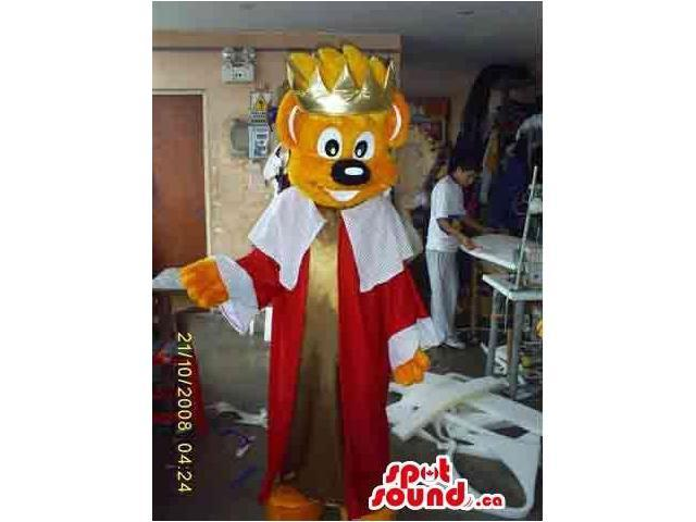 Bear Canadian SpotSound Mascot With King Disguise And Golden Shinny Crown
