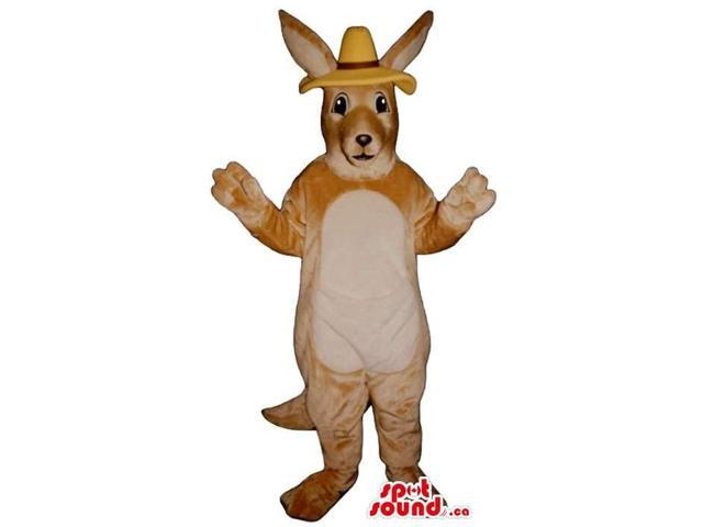 Beige Kangaroo Plush Canadian SpotSound Mascot With A White Belly Dressed In A Hat