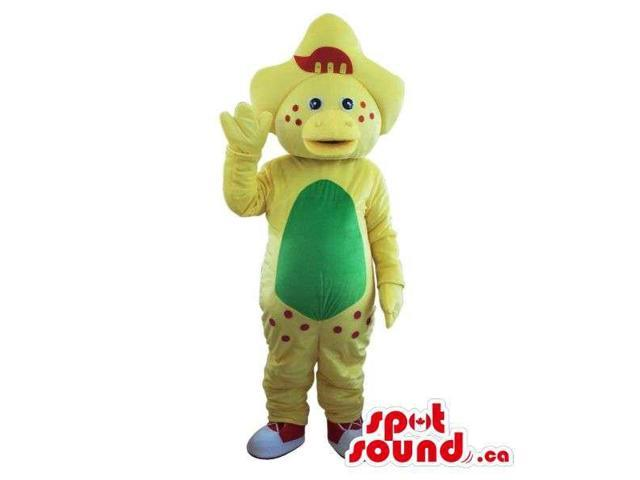 Cute Yellow Dinosaur Plush Canadian SpotSound Mascot With A Green Belly And Dots