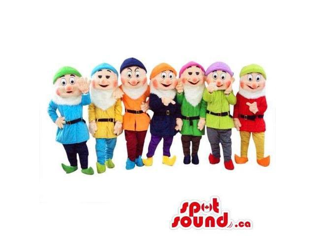 Snow White And The Seven Dwarfs Canadian SpotSound Mascots In Varied Gear