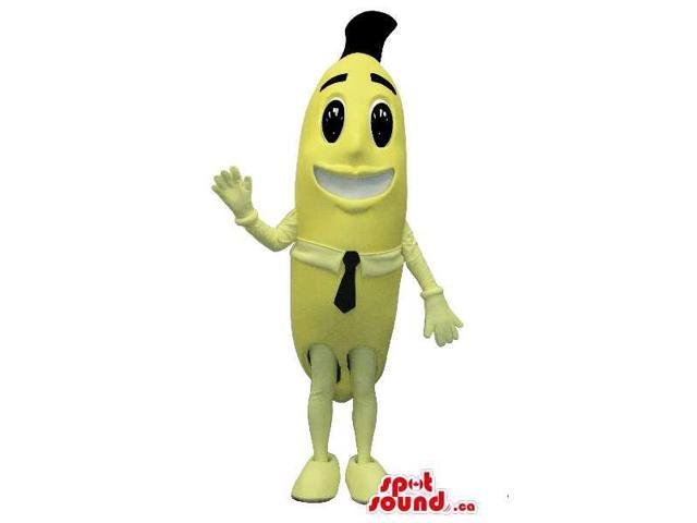 Cartoon Yellow Banana Plush Canadian SpotSound Mascot Dressed In A Black Tie