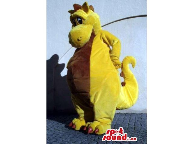 Cute Fairy-Tale Yellow Dragon Plush Canadian SpotSound Mascot With Brown Belly