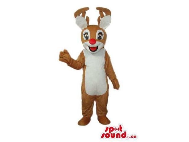 Brown Girl Reindeer Animal Plush Canadian SpotSound Mascot With A White Belly