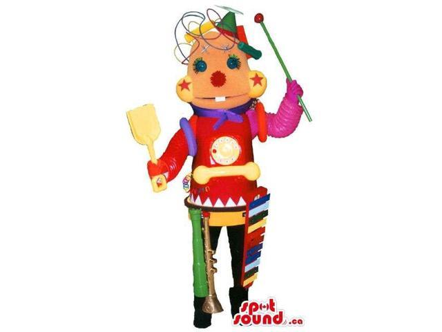 Colourful Toy Robot Canadian SpotSound Mascot With Musician Instruments