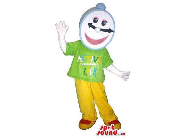Clock Canadian SpotSound Mascot With A Happy Face Dressed In Gear With Text