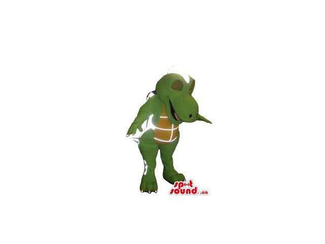 Intergalactic Green Dinosaur Canadian SpotSound Mascot With A Brown Belly