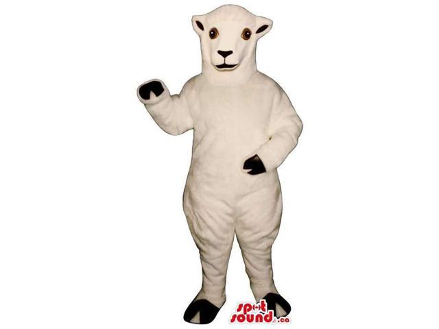 Customised All White Sheep Plush Canadian SpotSound Mascot With Round Brown Eyes