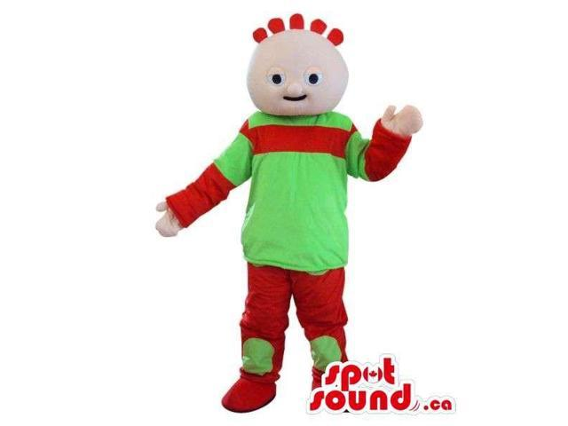 Cosmic Boy Plush Canadian SpotSound Mascot Character Dressed In Flashy Green Clothes