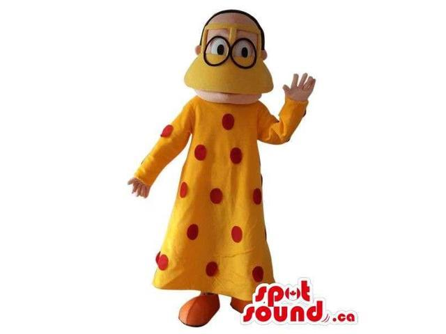 Man Plush Canadian SpotSound Mascot Dressed In A Duck Disguise With Glasses