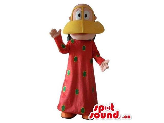 Man Plush Canadian SpotSound Mascot Dressed In A Duck Disguise And Dots