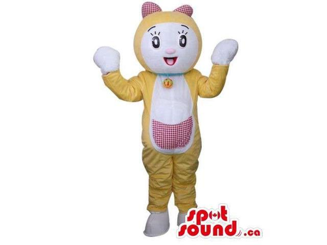 Yellow And White Fairy-Tale Girl Cat Plush Canadian SpotSound Mascot With A Pocket