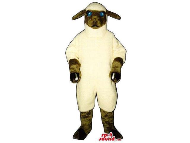 Customised White Sheep Plush Canadian SpotSound Mascot With Blue Eyes