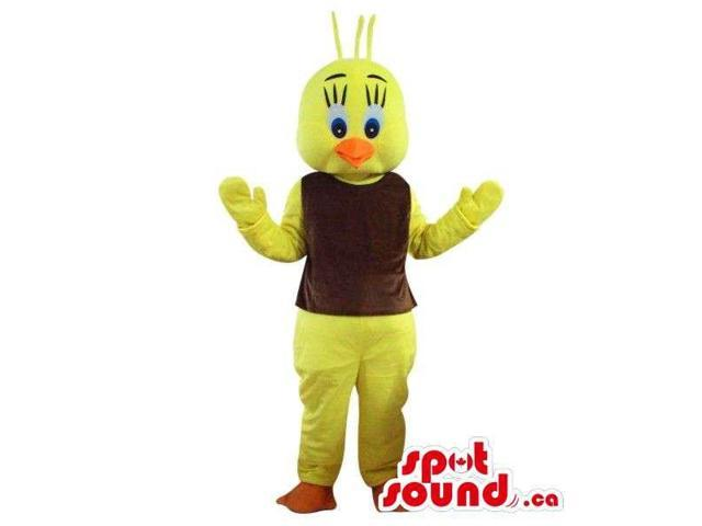 Cute Cosmic Yellow Bird Plush Canadian SpotSound Mascot Character With A Brown Top