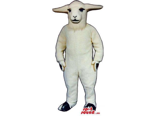 Customised All White Goat Plush Canadian SpotSound Mascot With Flat Ears