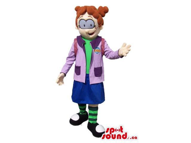 Cartoon Girl Canadian SpotSound Mascot Dressed In School Gear And Gadgets