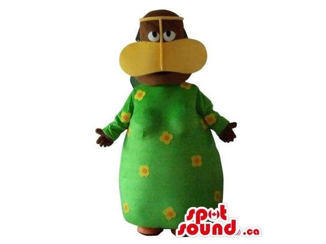 Lady Plush Canadian SpotSound Mascot Dressed In A Duck Disguise And Dots