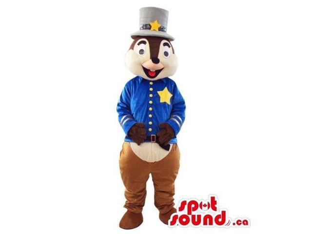 Cute Chipmunk Plush Canadian SpotSound Mascot Dressed In Magician Star Gear