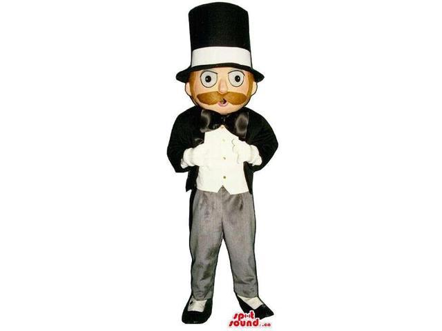 Man Canadian SpotSound Mascot With A Brown Moustache Dressed In A Suit And Hat
