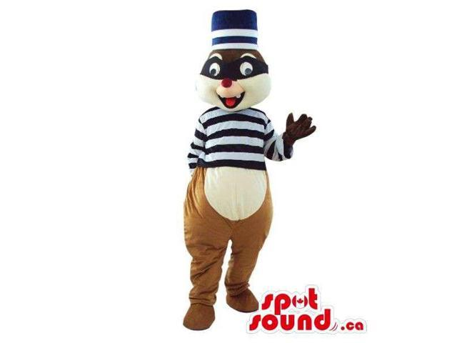 Cute Chipmunk Plush Canadian SpotSound Mascot Dressed In Prisoner Gear