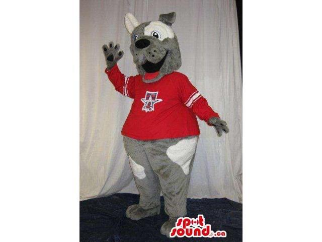 Cute Grey Dog Plush Canadian SpotSound Mascot With White Spots Dressed In Red Shirt