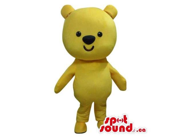 Cute Small Yellow Teddy Bear Canadian SpotSound Mascot With A Simple Design