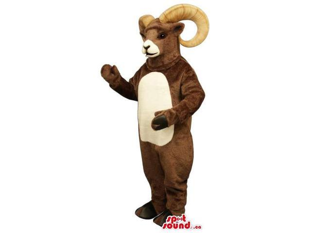 Customised Brown Goat Plush Canadian SpotSound Mascot With Curled Horns