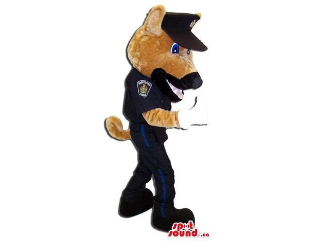 Brown Dog Animal Canadian SpotSound Mascot Dressed In Police Agent Gear