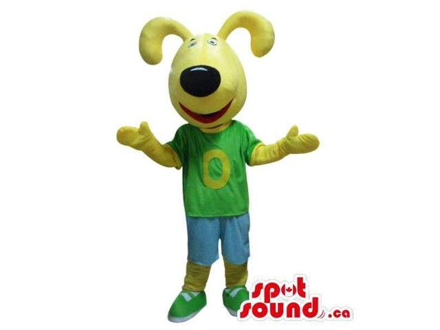 Yellow Bunny Canadian SpotSound Mascot With A Black Nose Dressed In A Logo T-Shirt