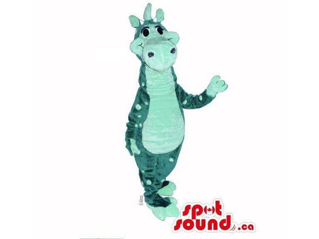 Customised All Green Dragon Plush Canadian SpotSound Mascot With Large Dots