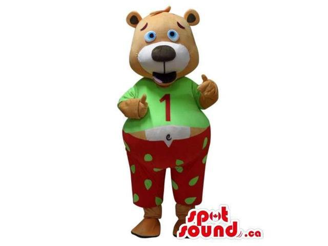 Cute Brown Teddy Bear Canadian SpotSound Mascot Dressed In Pyjamas With A Number