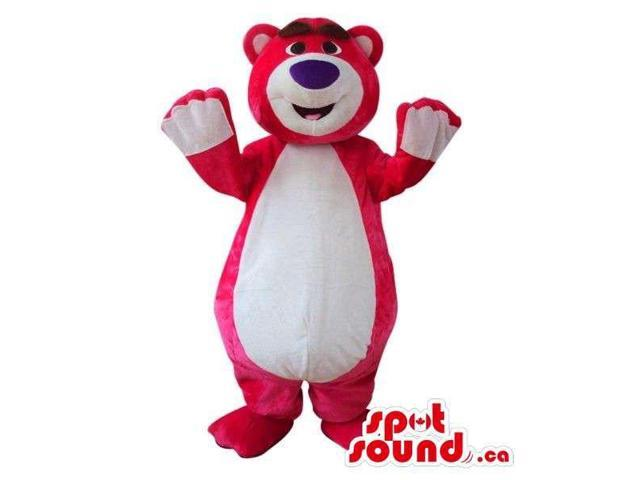 Cute Red Bear Plush Canadian SpotSound Mascot With A Large White Belly And A Cap