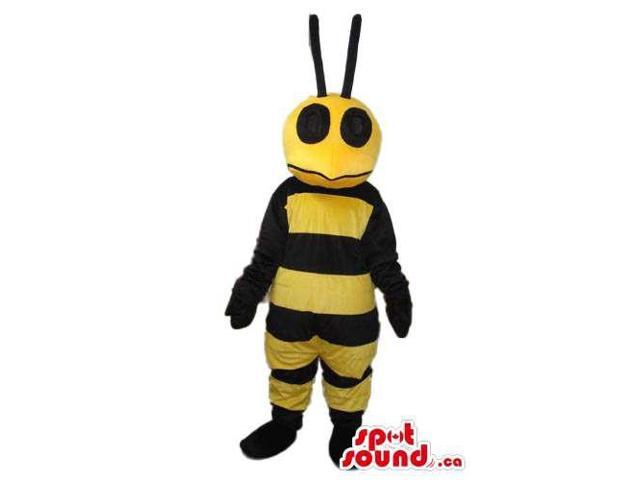 Bee Canadian SpotSound Mascot With Large Round Black Antennae And Eyes