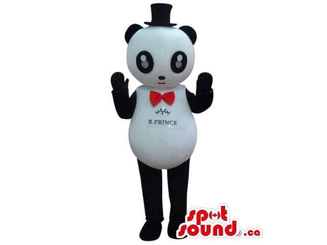 Panda Bear Canadian SpotSound Mascot Dressed In A Red Bow Tie And Small Top Hat