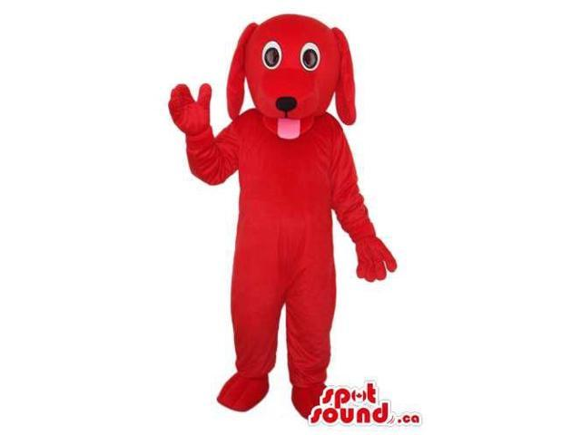 Cute All Red Dog Pet Animal Plush Canadian SpotSound Mascot Showing Its Tongue