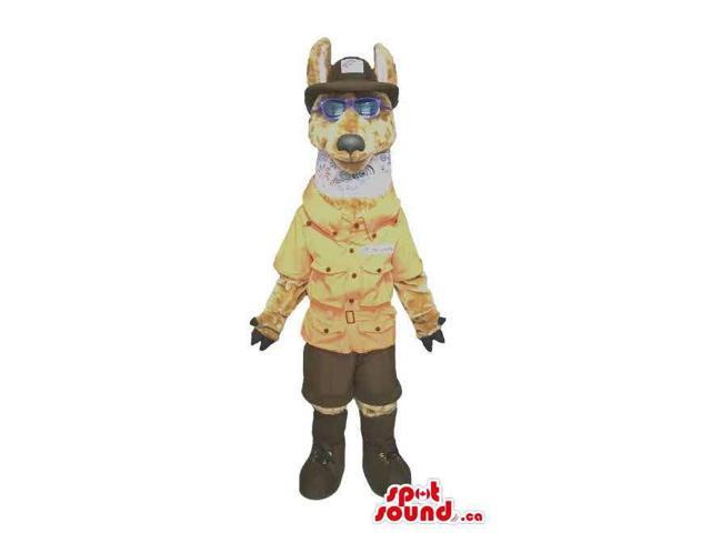 Large Brown Wolf Plush Canadian SpotSound Mascot Dressed In Park Guard Clothes