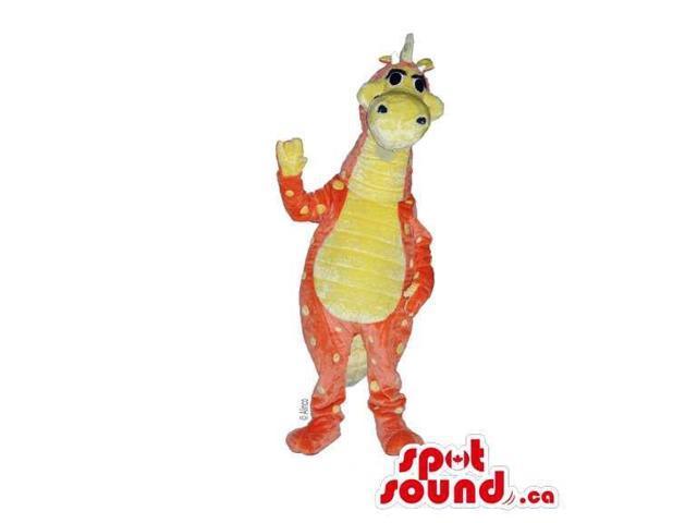 Customised Orange And Purple Woolly Dragon Plush Canadian SpotSound Mascot