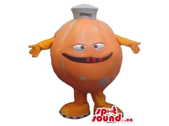 Customised Orange Large Ball Canadian SpotSound Mascot With A Peculiar Face