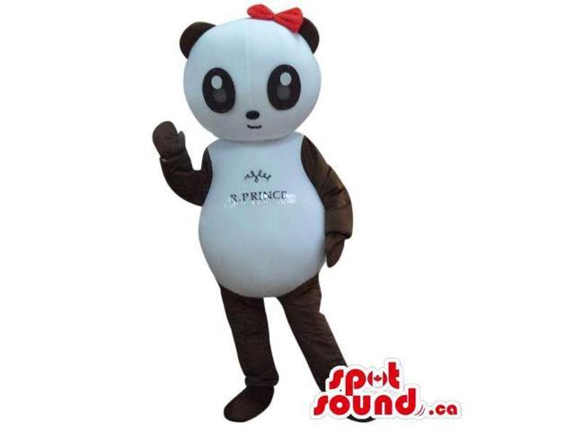 Cute Panda Bear Girl Canadian SpotSound Mascot With Text Dressed In A Red Ribbon