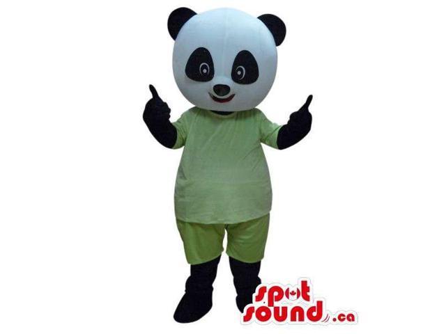 Customised Cute Panda Bear Boy Canadian SpotSound Mascot Dressed In Green Pyjamas