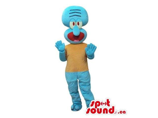 Cute Blue Alien Cartoon Character Plush Canadian SpotSound Mascot With A Beige Body