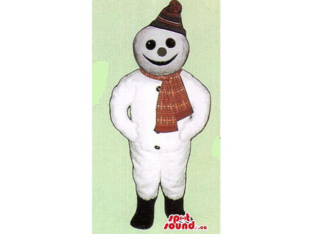 White Snowman Plush Canadian SpotSound Mascot With A Red Scarf And Winter Hat