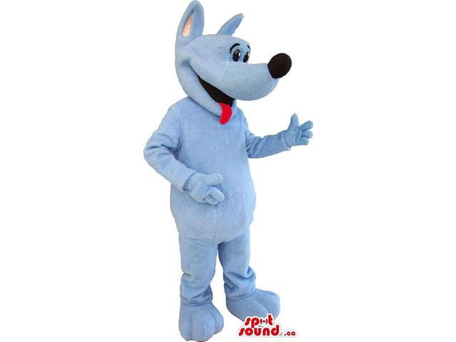 All Blue Dog Animal Plush Canadian SpotSound Mascot With A Red Tongue