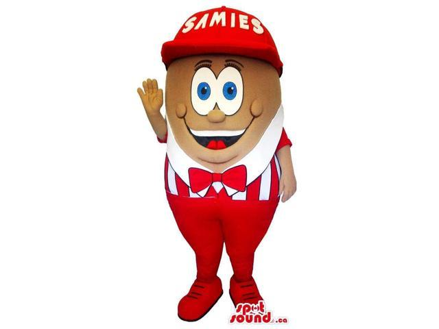 Brown Canadian SpotSound Mascot With Cartoon Eyes Dressed In A Red And White Gear