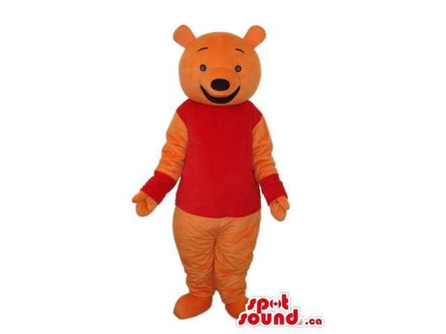 Winnie The Pooh Cartoon Bear Canadian SpotSound Mascot With Red T-Shirt And Cuffs