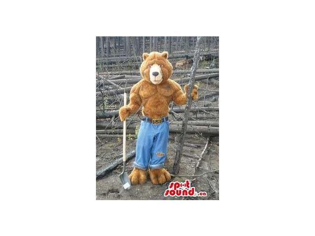 All Brown Strong Bear Forest Canadian SpotSound Mascot Dressed In Blue Jeans