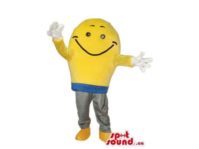 Yellow Bulb Plush Canadian SpotSound Mascot With A Smiling Face And White Gloves